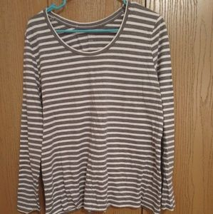 Grey and white striped Tee Shirt